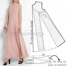 ― N E B İ H A N A K Ç Aさん( 「Hiç demiyorsunuz sırada kalıp var diye☺️ ▪️Temel elbise kalıbı üzerinde model uyarlaması. Dress Sewing Patterns, Clothing Patterns, Pattern Sewing, Long Dress Patterns, Fashion Sewing, Diy Fashion, Origami Fashion, Fashion Details, Sewing Clothes
