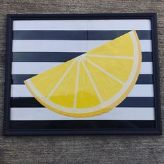 """𝓖𝓮𝓮 az Instagramon: """"Lemon frame DIY🍋🖼 to make this: used some striped wrapping paper I had as a background. I bought the big frame and lemon napkins…"""" Diy Frame, Lemonade, Wrapping, Napkins, Wraps, Big, Paper, Instagram, Towels"""