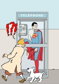 Blended with Superimpose // Tintin discovers Superman's secret :o