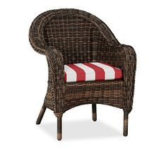 Torrey Roll-Arm Dining Chair Cushion Slipcover, Sunbrella(R) Jockey Red Stripe