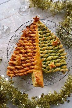 Une déclinaison festive de la tarte soleil sous forme de sapin feuilleté . Ici garni de rillettes maison au chorizo et d'un pesto d'épinard, il régale !