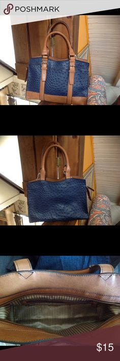 Woman's tan and blue bag. Simulated ostrich leather bag in great condition. kelly and katie Bags Totes
