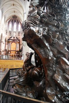 The pulpit of Saint Rombouts Cathedral in Mechelen (Belgium) This pulpit of oak is carved by Michiel van der Voort, the Elder, who lived from 1667 to 1737. A beautiful example of Flemish Baroque.