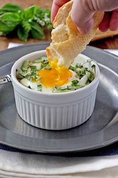 Baby Kale and Artichoke Baked Eggs - it's like having spinach artichoke dip for a meal!