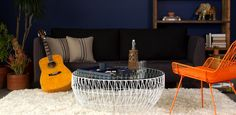 Wire coffee table and chair in this living room from BEND  |  ICFF13