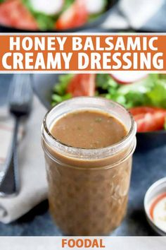 Make Homemade Creamy Honey Balsamic Dressing in 5 Minutes or Less - Skip going to the store and make your very own creamy honey balsamic salad dressing at home in just - Balsamic Vinegar Dressing, Salad With Balsamic Dressing, Salad Dressing Recipes, Salad Recipes, Salad Dressings, Creamy Garlic Dressing, Best Salad Dressing, Dip Recipes, Yummy Recipes