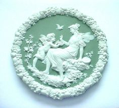 Green Jasperware Plaque of Cupid & an Angel, Likely German (Makers Schafer & Vater)