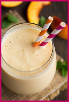 Peach Oat Breakfast Smoothie:  1 1/2 cups peeled and diced, frozen peaches 1 cup almond coconut milk blend or original almond milk 1 (5.3 oz) greek yogurt - mango, peach, strawberry or coconut 1 very ripe banana, peeled and frozen 1/2 cup oats (old fashioned or quick, either are fine) 1/2 cup cold water