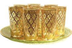 Stained-Glass Highballs & Platter  available RIGHT now on OKL ;)  Green LOVE