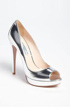 Prada Peep Toe silver high heels