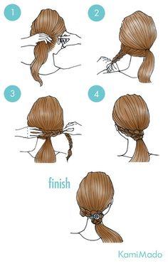 Tutorial de penteado com o elástico escondido por trança. Fácil de fazer sozinha ;)