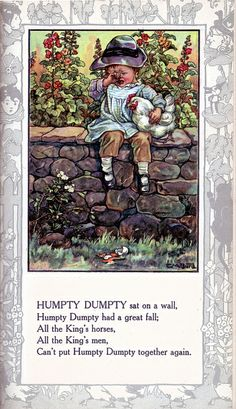 Humpty Dumpty - Mother Goose and Her Goslings compiled by Rose Allyn, 1918 (Clara M. Burd)