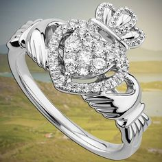 The most recognized piece of Celtic jewelry is the Ring of Claddagh. It is in the shape of a heart held in two hands with a crown on top. Irish Wedding Rings, Irish Rings, Celtic Rings, Jewelry Tags, Jewelry Gifts, Jewellery, Jewelry Ideas, Jewelry Accessories, Princess Cut Diamond Earrings