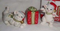 Fitz and Floyd Kitty Kringle 3 pc. Christmas cats figurines MIB