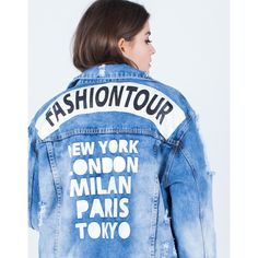 Fashion Tour Denim Jacket (74 AUD) ❤ liked on Polyvore featuring outerwear and jackets
