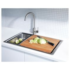 IKEA - BREDSKÄR, Chopping board, The wood surface is durable yet also gentle on your knives.Place over the BREDSKÄR sink to make an extra work surface. Kitchen Mixer Taps, Kitchen Knives, Sink Accessories, Dish Detergent, Keep It Cleaner, Cleaning Wipes, Home Furnishings, Kitchen Remodel, Cuisine