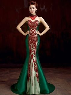 green satin beaded Bandage mermaid off the shoulder long chinese cheongsam qipao dresses size customized formal dinner party