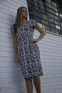 V-Neck Dress with Shoulder Rushing B/W Print V Neck Dress, Shirt Dress, Cape Town, Shoulder, Shirts, Collection, Dresses, Fashion, Vestidos