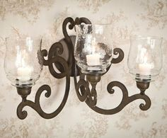 ME2283 - Bronze Iron Three Light Scroll Wall Sconce - Candle Holder