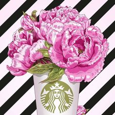#rg @rina_rusyaeva #flowers #peony #coffee #fashionillustration #art