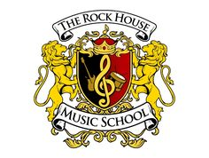 The Rock House. A music schools incredible crest logo. Look at the musical note in the middle. Crest Logo, University Logo, House On The Rock, Music School, Family Crest, Monogram Logo, Coat Of Arms, Logo Design, Graphic Design