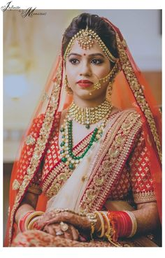Bride in Red Lehenga and Polki and Emerald Jewelry Bridal Portrait Poses, Bridal Poses, Red Lehenga, Bridal Lehenga, Brocade Lehenga, Saree Wedding, Wedding Bride, Bridal Outfits, Bridal Dresses