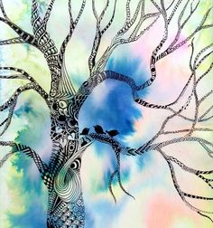 "serendipity312, ""Three Little Birds""  I have a thing for trees. Now to Zentangle one on a watercolor background..."