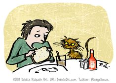 Daily Sketch: Man And His Cat. DebbieOhi.com.