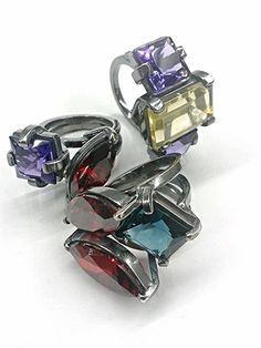 Take hue, ring oxidized silver and stones by zero43