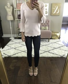 pink scalloped hem sweater skinny jeans blush heels, petite fashion blog, stylish petite, fall outfit, casual outfit, weekend outfit - click the photo for outfit details!