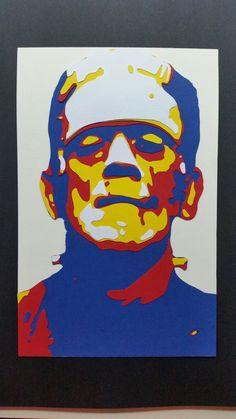 Franky  paper handcut 24 x 15.5 cm #popart #art #collage #frankenstain forse sale