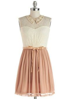 Vignette Effect Dress - Woven, Short, Sheer, Lace, Pink, Tan / Cream, Beads, Lace, Belted, Party, A-line, Sleeveless, Summer, Better, Collared