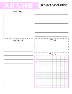 Free quilting and sewing planners to help you organize your projects into workable pieces. And they even have a notes section to keep track of changes!