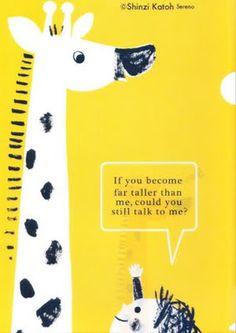 Shinzi Katoh Sure Yellow Giraffe Postcard Talk To Me, You And I, Giraffes, Illustration, Poster, Kids, Board, Design, Illustrator