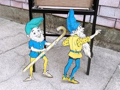 antique gnome figurines large gnome cutouts  vintage. by brixiana, $85.00