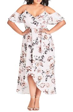 ecf7009724c City Chic Champagne Rose Cold Shoulder Maxi Dress (Plus Size)