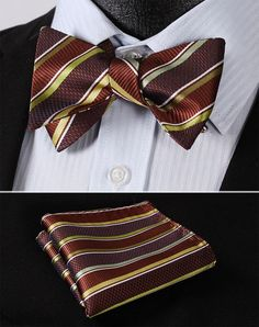 BowTie - Brown Green Stripe Classic 100% Silk BowTie Item Type: Bow Tie Pattern Type: Striped Style: Fashion Material: Silk Size: One Size