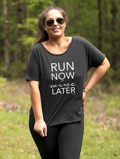 Run Now Wine Later Graphic Tee, Sizes S-3X, Plus Sizes available, workout tee, girl boss tee, wine tee