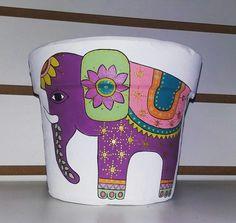Maceta de barro pintada a mano #elefante