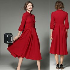 fce85f784 UNOMATCH WOMEN DESINGED ROUND NECK FRONT BUTTONS A-LINE DRESS RED Product  Code: UWD494
