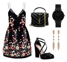 """""""Date night"""" by leslietorress on Polyvore featuring The 2nd Skin Co., Nina, Yves Saint Laurent, CLUSE and Fernando Jorge"""
