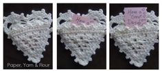 "A crochet heart... so sweet and simple. I love the way even a humble picot edge can make anything more ""frilly"". In preparation for Valentine's Day, I decided to crochet a lovely little heart pock..."
