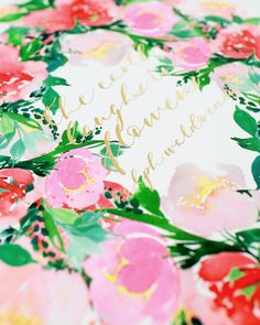 The Earth Laughs in Flowers Watercolor Floral and Matte Gold Foil Calligraphy Print / Mon Voir + Oh So Beautiful Paper