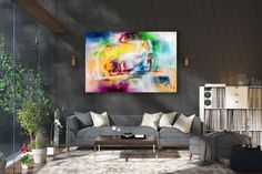Items similar to Large Modern Wall Art Painting,Large Abstract wall art,painting colorful,xl abstract painting,canvas wall art on Etsy Large Abstract Wall Art, Large Canvas Art, Wall Canvas, Large Painting, Painting Canvas, Knife Painting, Acrylic Canvas, Oversized Canvas Art, Bright Paintings