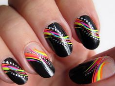 Cozy Spring Nail Designs for Women, Black Cute Nails Designcolorful Patterns
