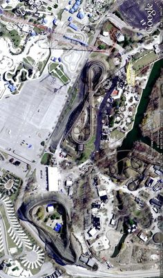 Roller coasters at Cedar Point, Ohio. Image from Google Earth.