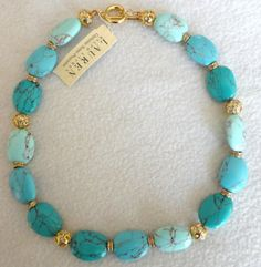 Turquoise Beaded Gold-Plated Collar Necklace-Ralph Lauren - $42