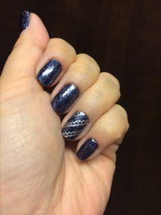 Navy glitter with chains