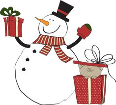 Christmas Clip Art including that includes snowmen and carolers. You will find snowmen doing all sorts of things, riding on a sled, giving gifts and other holiday activities along with carolers, you and old alike.: Snowman Gifts and Kitty