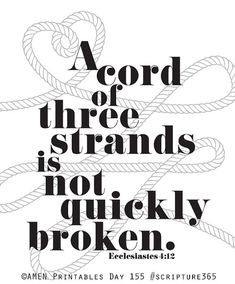 Ecclesiastes 4:12 KJV And if one prevail against him, two shall withstand him; and a threefold cord is not quickly broken. (often said for marriage to withstand the attack of the devil) Wedding. 8x10 DIY Printable Christian Poster. Bible Verse.